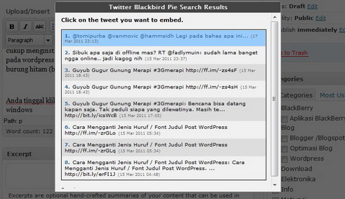 Cara menambahkan tweet embed tweet ke post blog wordpress 03