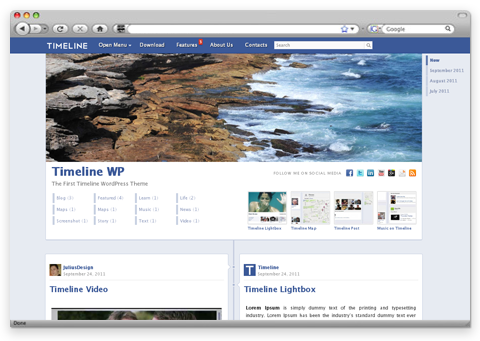Timeline WP Theme WordPress Mirip Timeline Facebook