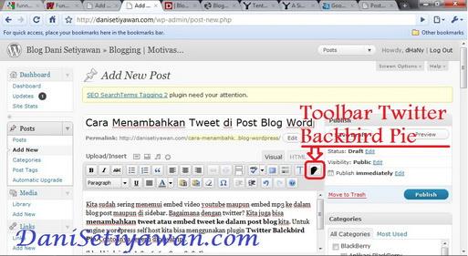 Cara menambahkan tweet embed tweet ke post blog wordpress